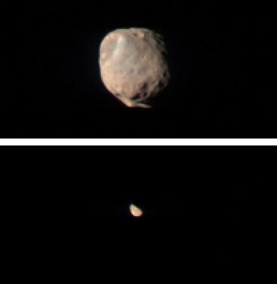 Phobos as seen from Mars  and Orbit